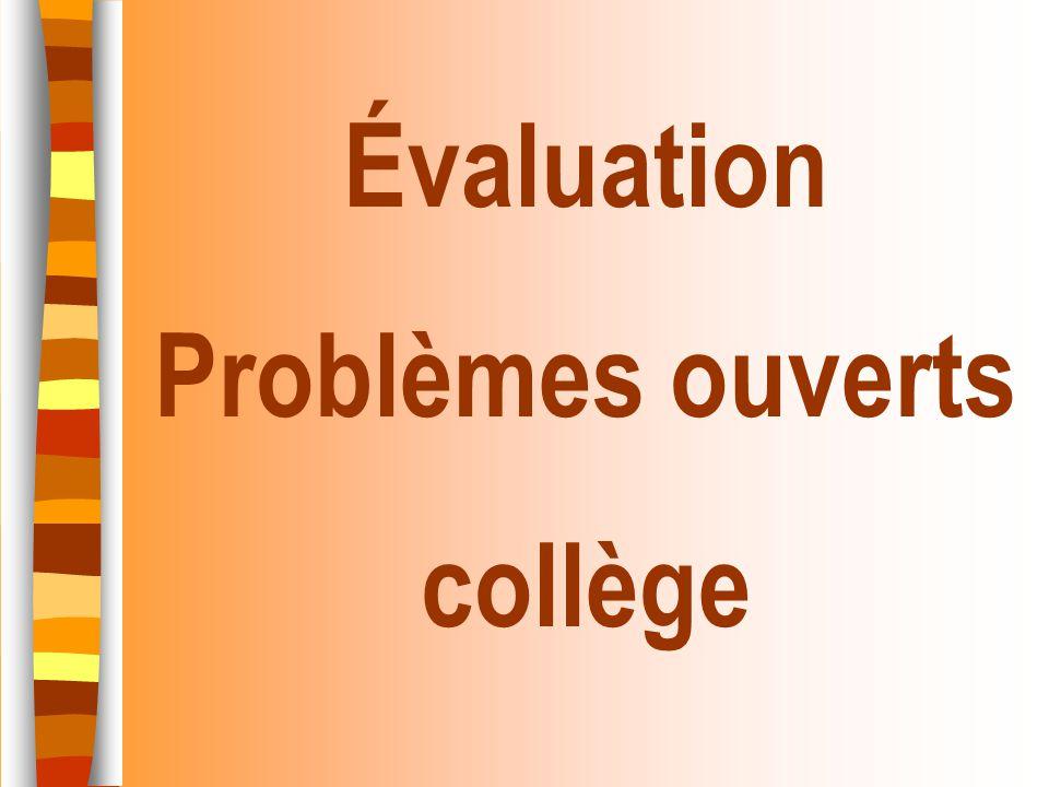Évaluation Problèmes ouverts collège