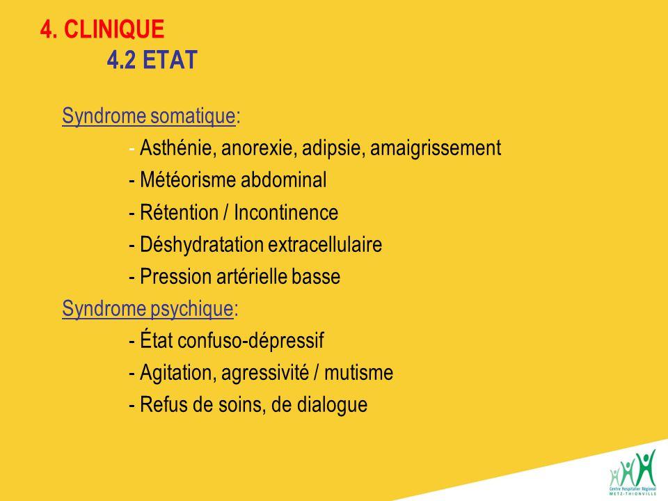 4. CLINIQUE 4.2 ETAT Syndrome somatique: