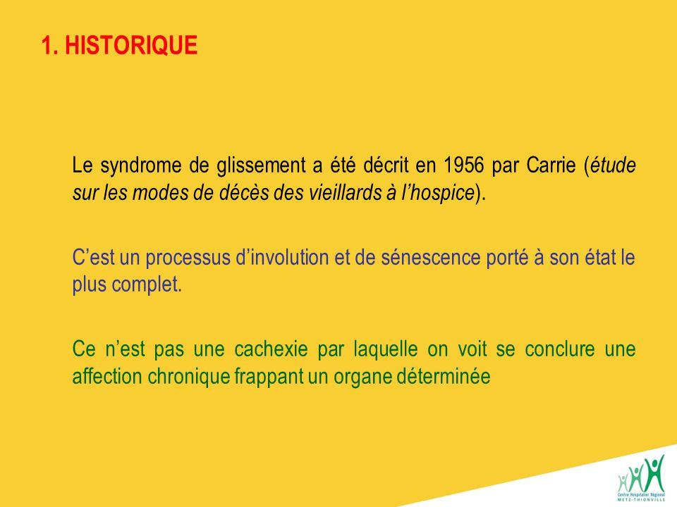 1. HISTORIQUE Le syndrome de glissement a été décrit en 1956 par Carrie (étude sur les modes de décès des vieillards à l'hospice).