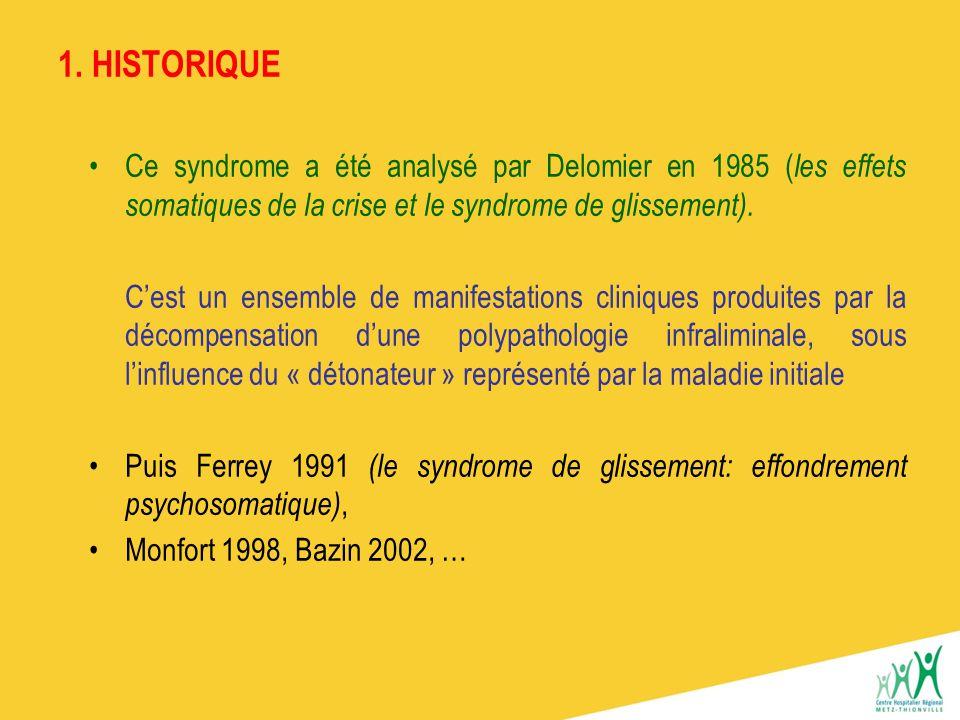 1. HISTORIQUE Ce syndrome a été analysé par Delomier en 1985 (les effets somatiques de la crise et le syndrome de glissement).