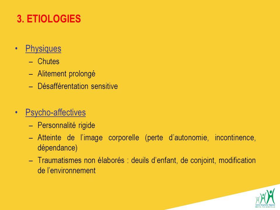 3. ETIOLOGIES Physiques Psycho-affectives Chutes Alitement prolongé