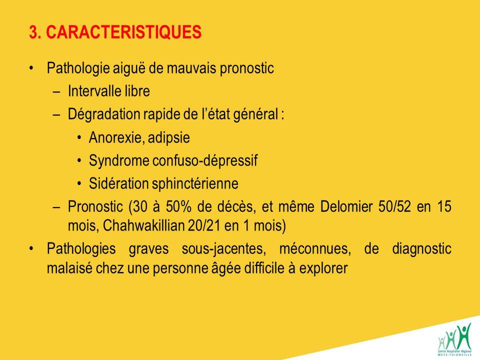 3. CARACTERISTIQUES Pathologie aiguë de mauvais pronostic