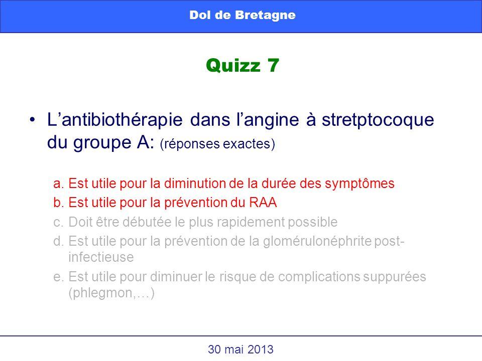 Dol de Bretagne Quizz 7. L'antibiothérapie dans l'angine à stretptocoque du groupe A: (réponses exactes)