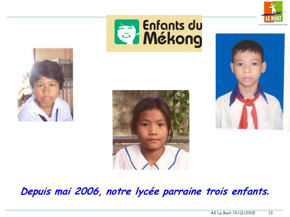 Depuis mai 2006, notre lycée parraine trois enfants.