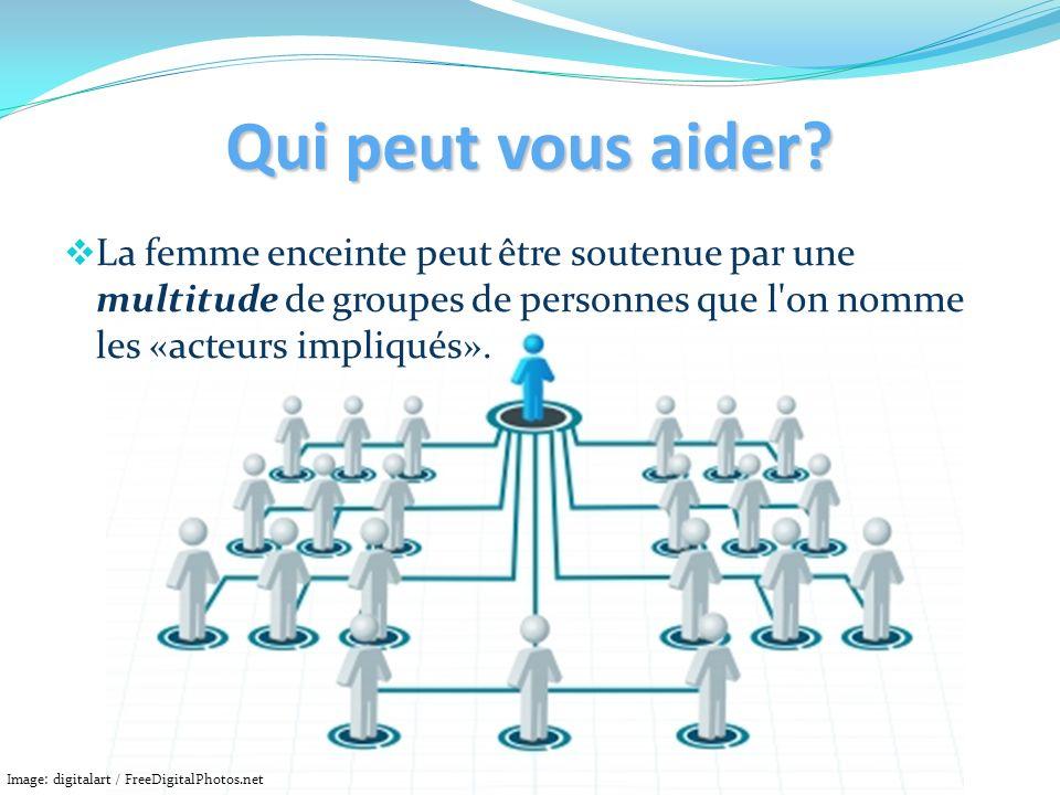 Qui peut vous aider La femme enceinte peut être soutenue par une multitude de groupes de personnes que l on nomme les «acteurs impliqués».
