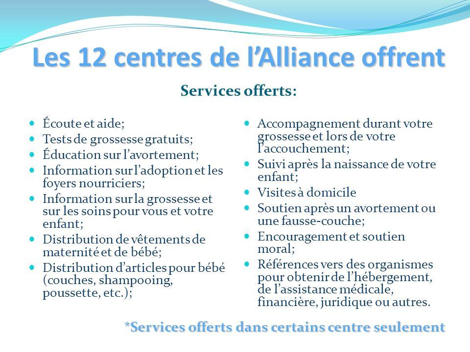 Les 12 centres de l'Alliance offrent