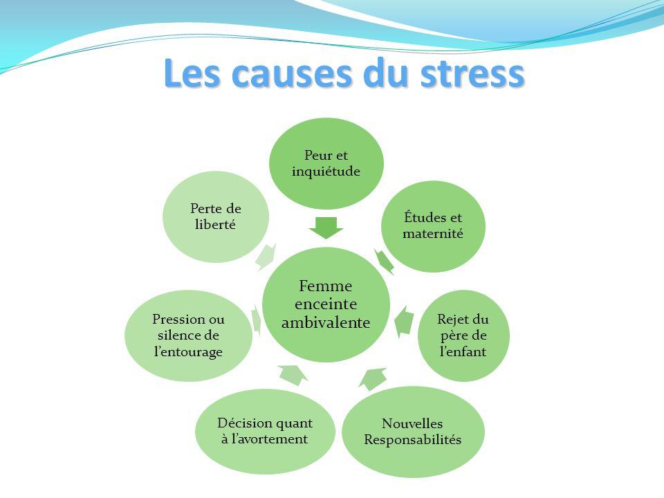 Les causes du stress Peur et inquiétude Études et maternité