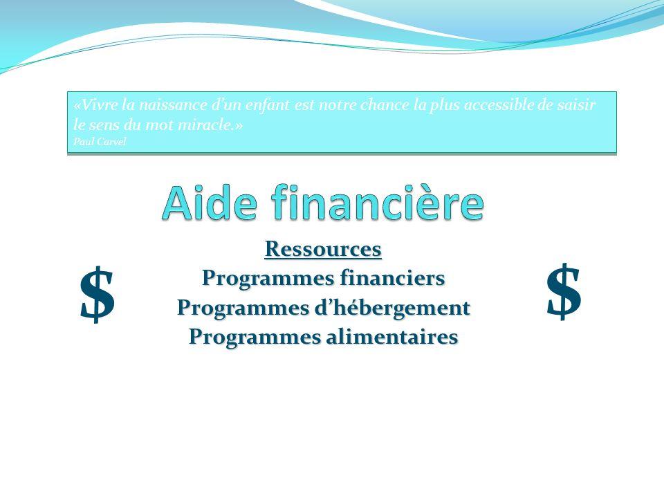 Programmes financiers Programmes d'hébergement Programmes alimentaires