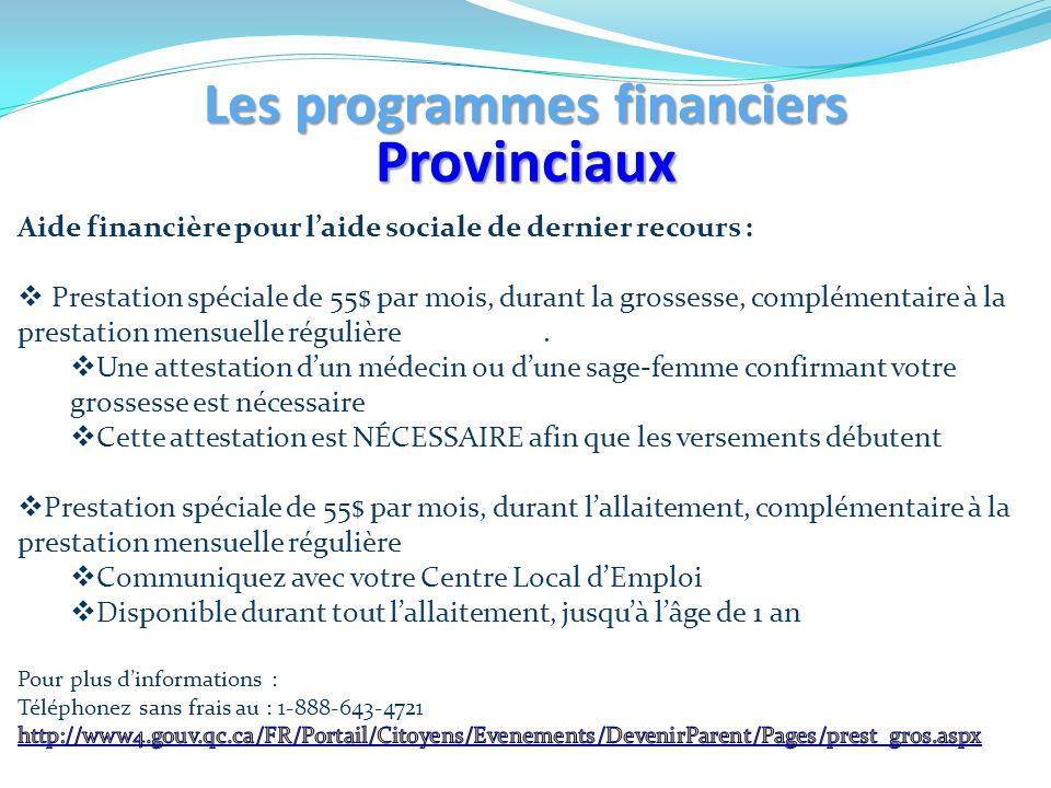 Les programmes financiers
