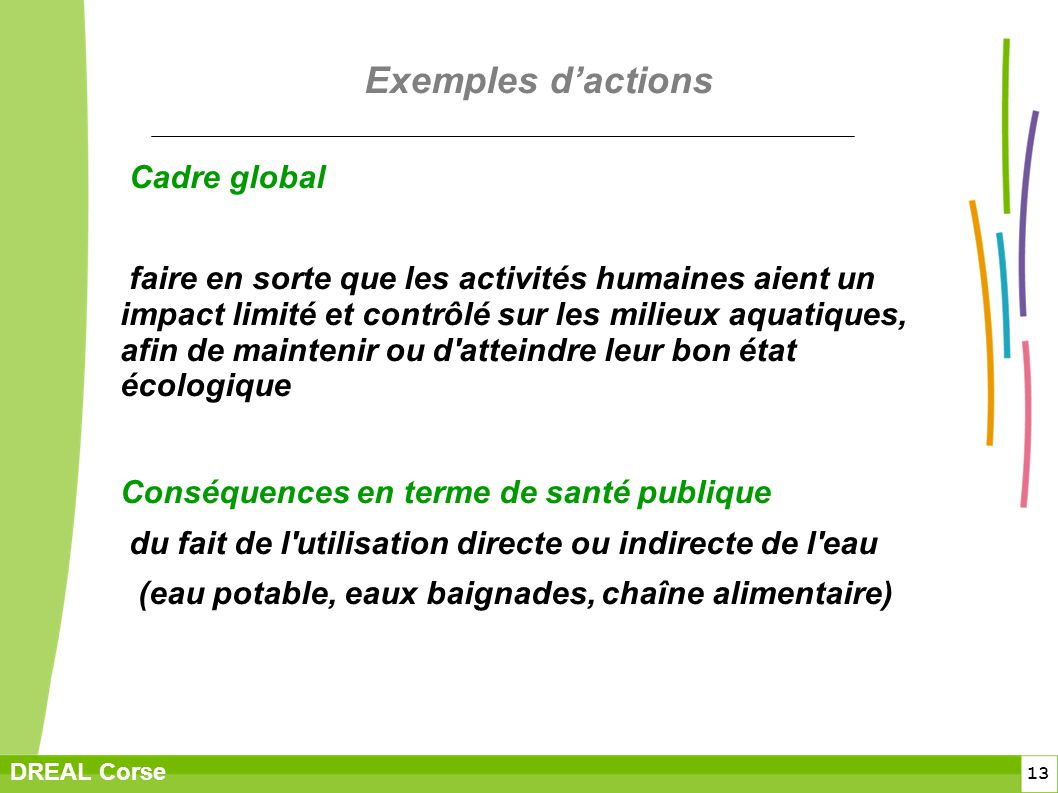 Exemples d'actions Cadre global