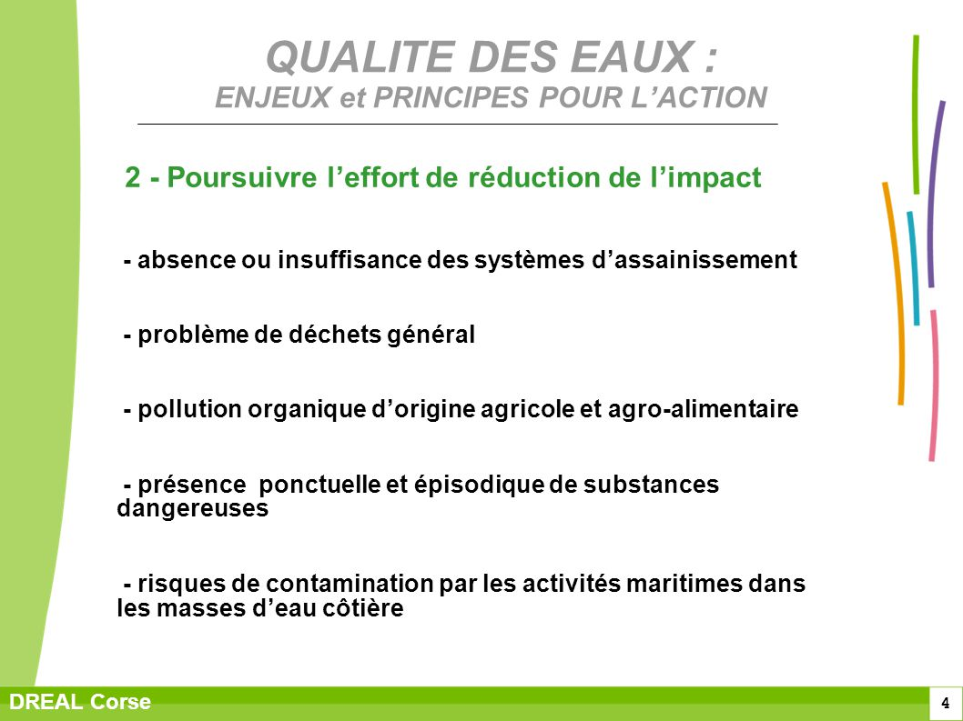 QUALITE DES EAUX : ENJEUX et PRINCIPES POUR L'ACTION