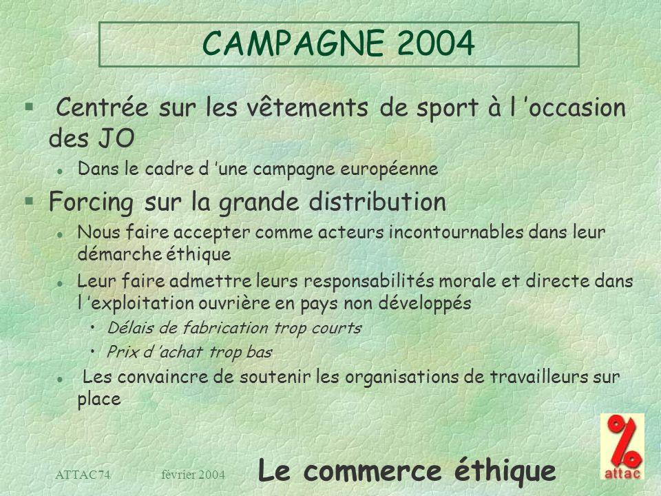 CAMPAGNE 2004 Centrée sur les vêtements de sport à l 'occasion des JO