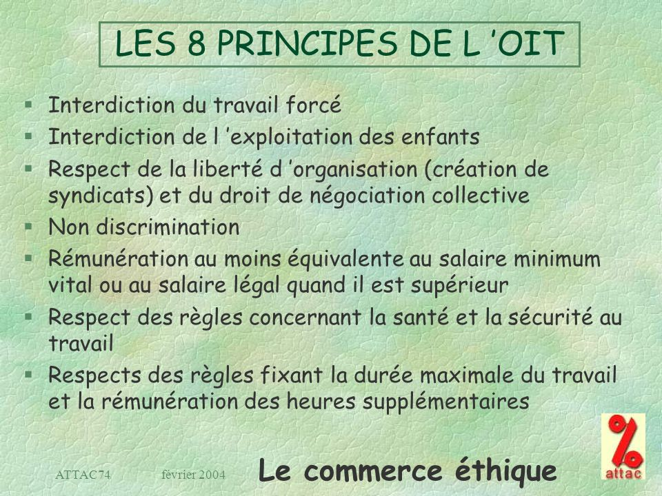 LES 8 PRINCIPES DE L 'OIT Interdiction du travail forcé