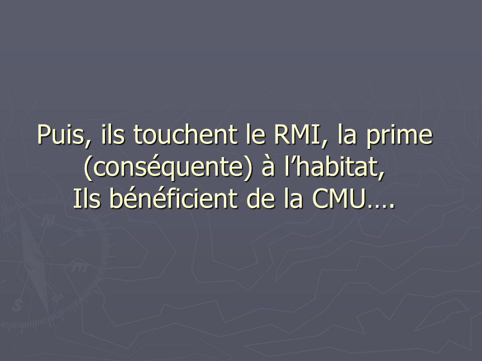 Puis, ils touchent le RMI, la prime (conséquente) à l'habitat, Ils bénéficient de la CMU….