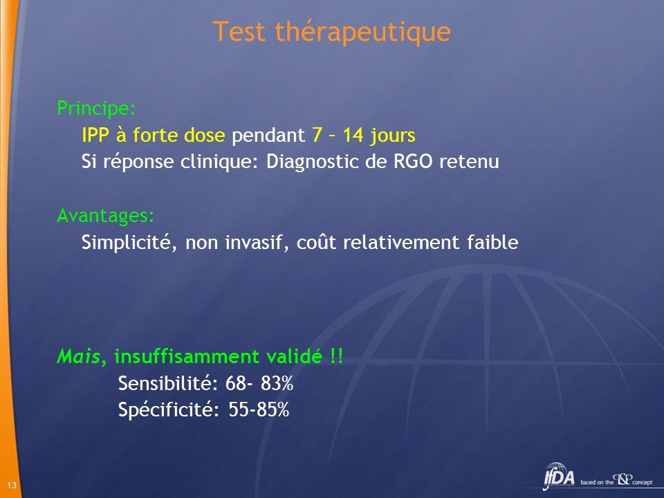 Test thérapeutique Principe: IPP à forte dose pendant 7 – 14 jours