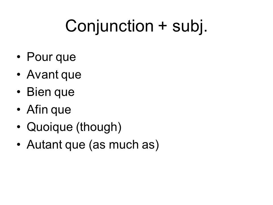 Conjunction + subj. Pour que Avant que Bien que Afin que