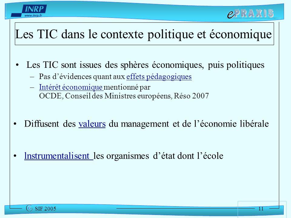 Les TIC dans le contexte politique et économique