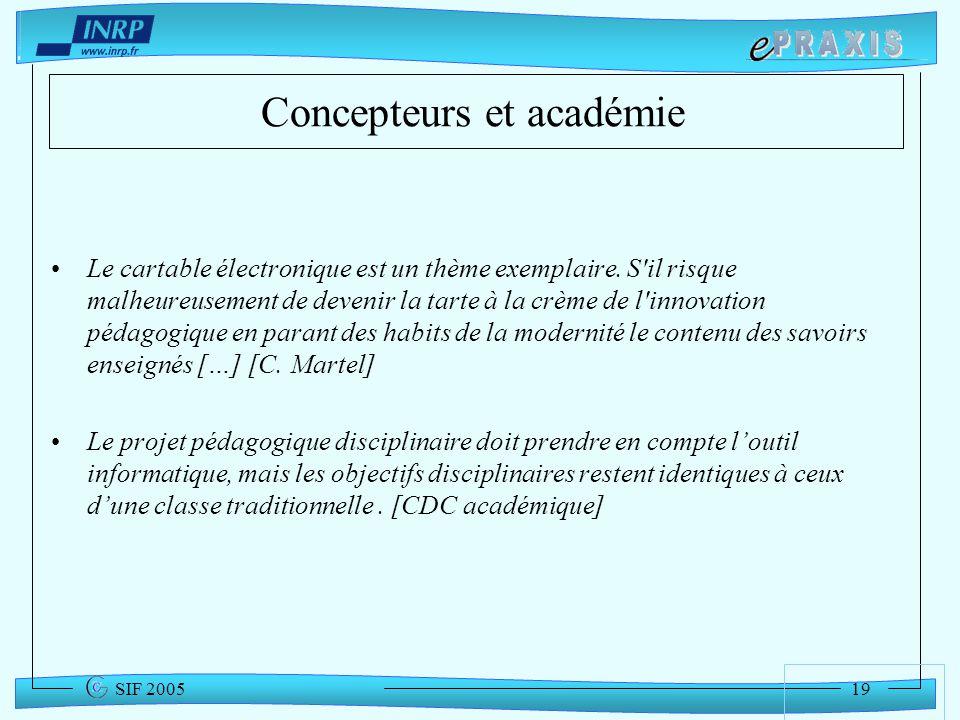 Concepteurs et académie