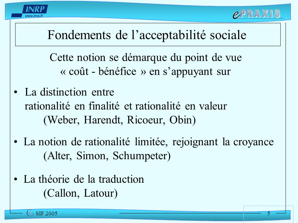 Fondements de l'acceptabilité sociale