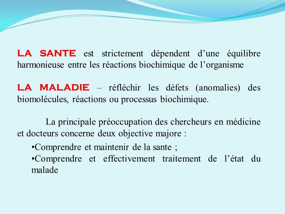 LA SANTE est strictement dépendent d'une équilibre harmonieuse entre les réactions biochimique de l'organisme