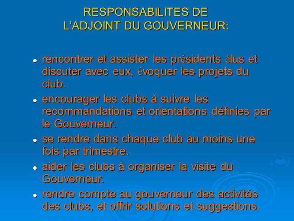 RESPONSABILITES DE L'ADJOINT DU GOUVERNEUR: