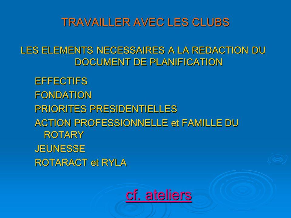 TRAVAILLER AVEC LES CLUBS