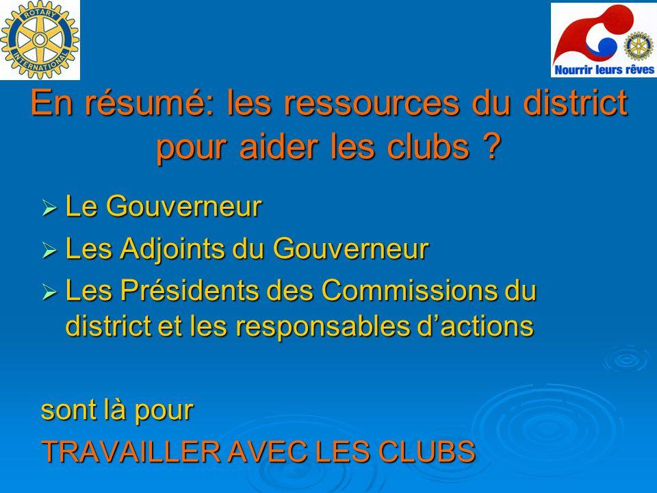 En résumé: les ressources du district pour aider les clubs