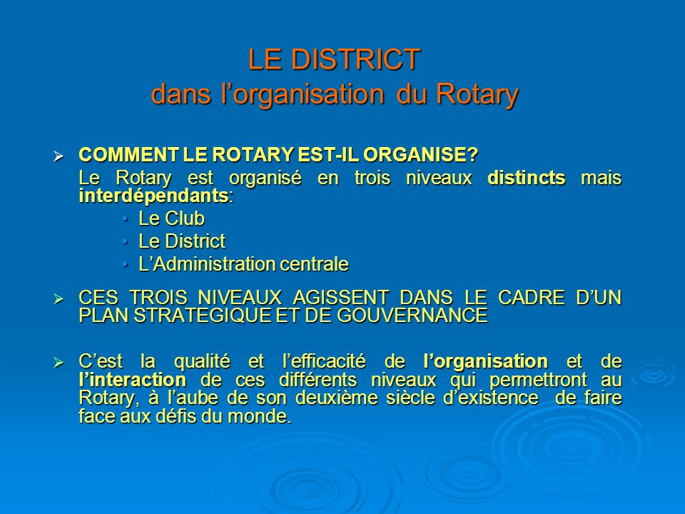 LE DISTRICT dans l'organisation du Rotary