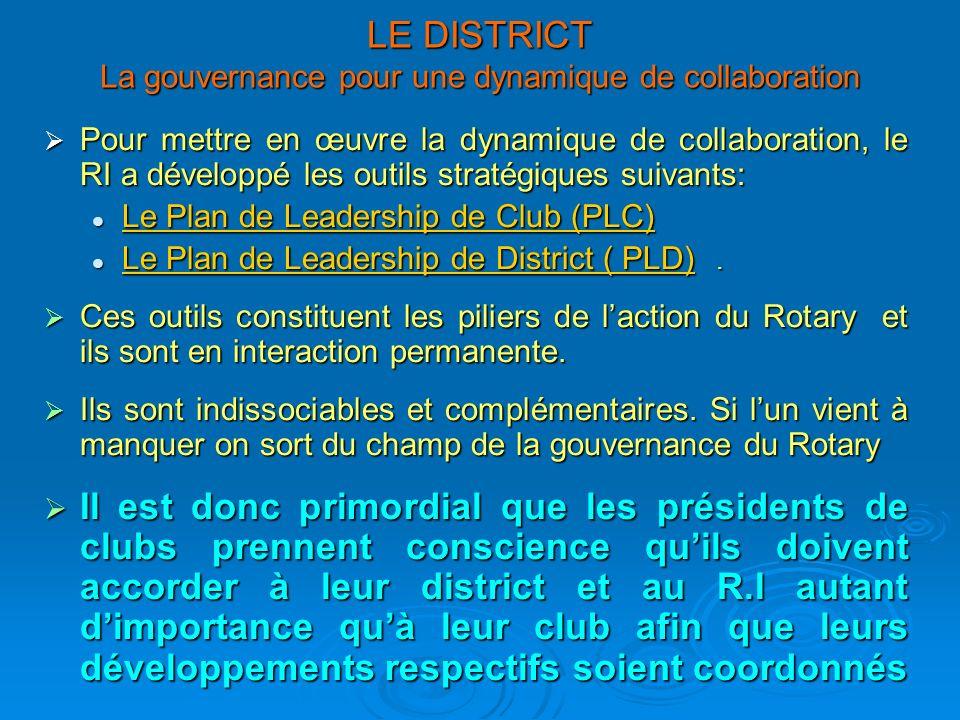 LE DISTRICT La gouvernance pour une dynamique de collaboration
