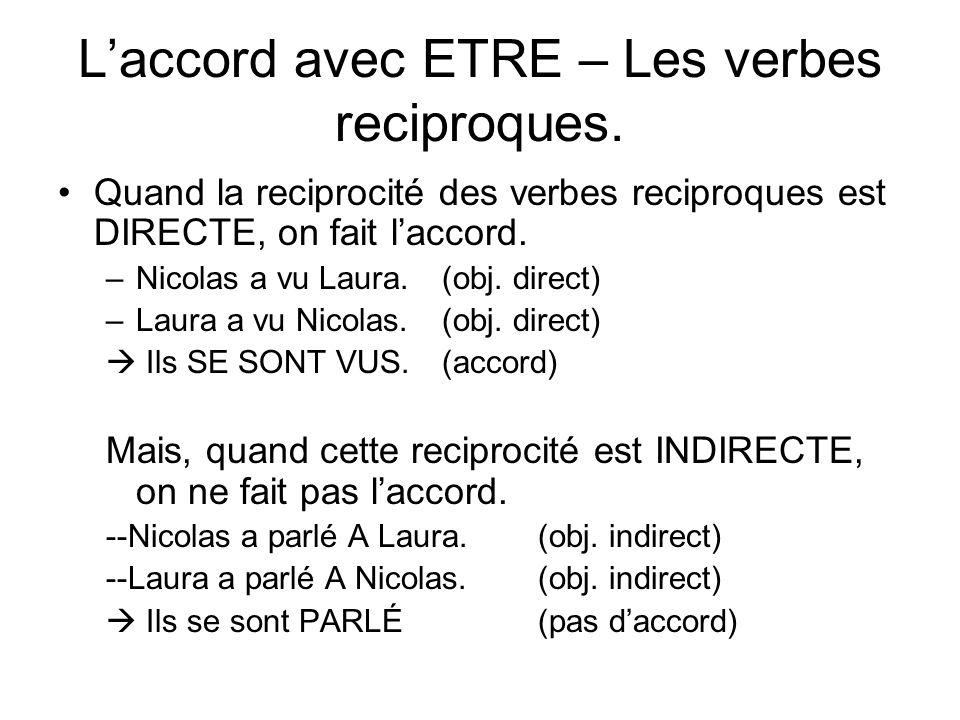 L'accord avec ETRE – Les verbes reciproques.