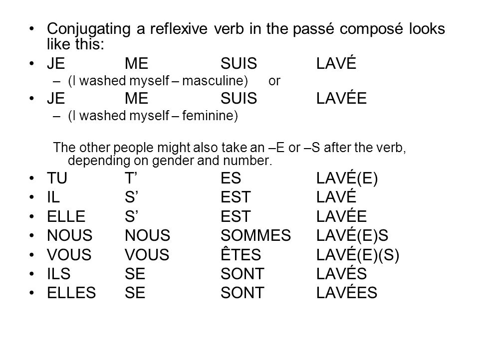 Conjugating a reflexive verb in the passé composé looks like this: