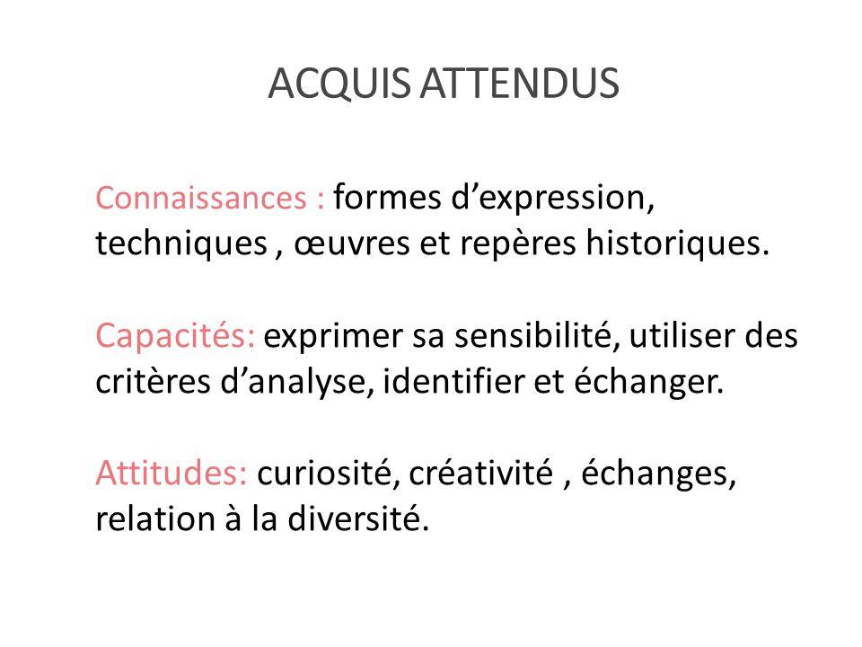 ACQUIS ATTENDUS Connaissances : formes d'expression, techniques , œuvres et repères historiques.