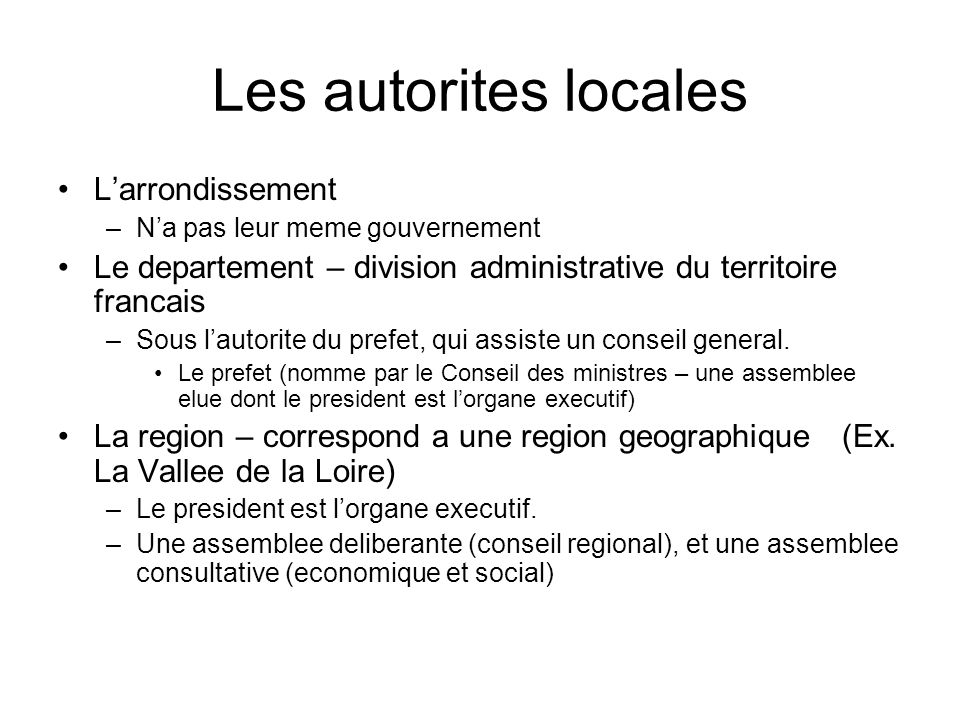 Les autorites locales L'arrondissement