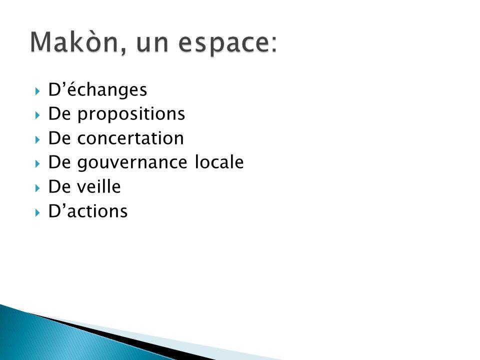 Makòn, un espace: D'échanges De propositions De concertation