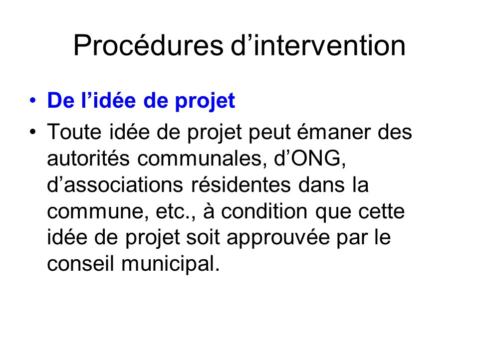 Procédures d'intervention