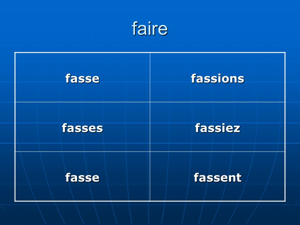 faire fasse fassions fasses fassiez fassent