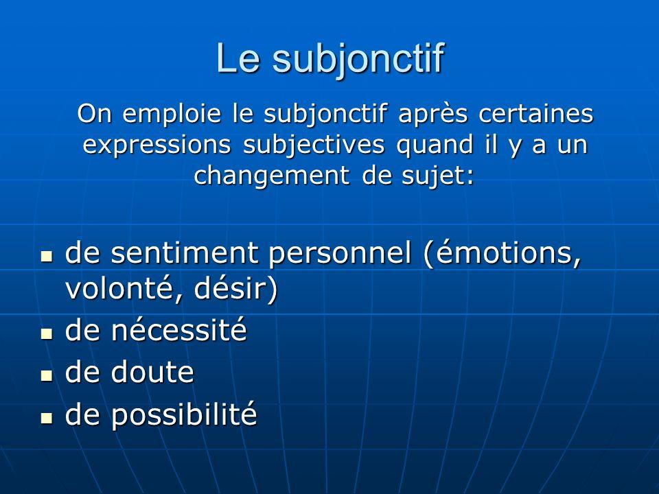 Le subjonctif de sentiment personnel (émotions, volonté, désir)