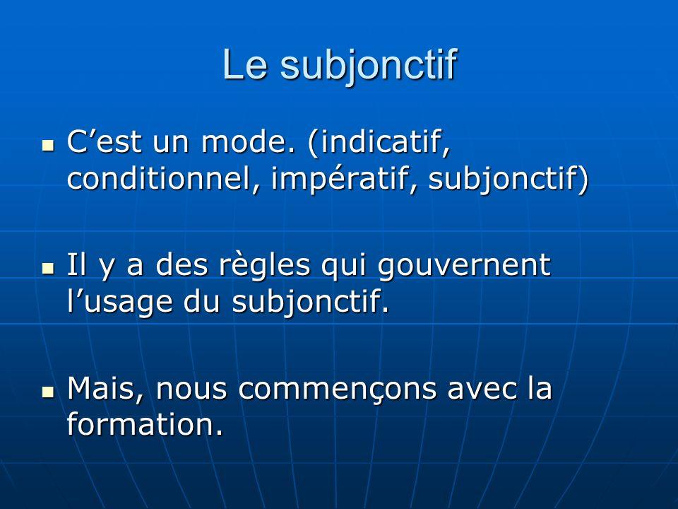 Le subjonctifC'est un mode. (indicatif, conditionnel, impératif, subjonctif) Il y a des règles qui gouvernent l'usage du subjonctif.