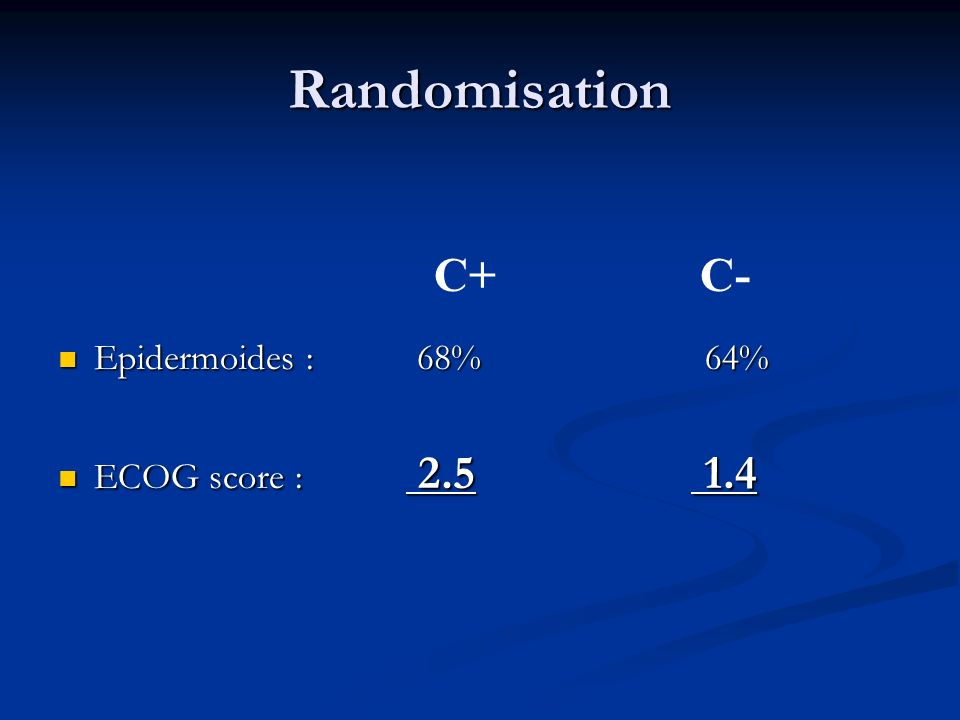 Randomisation Epidermoides : 68% ECOG score : 2.5.