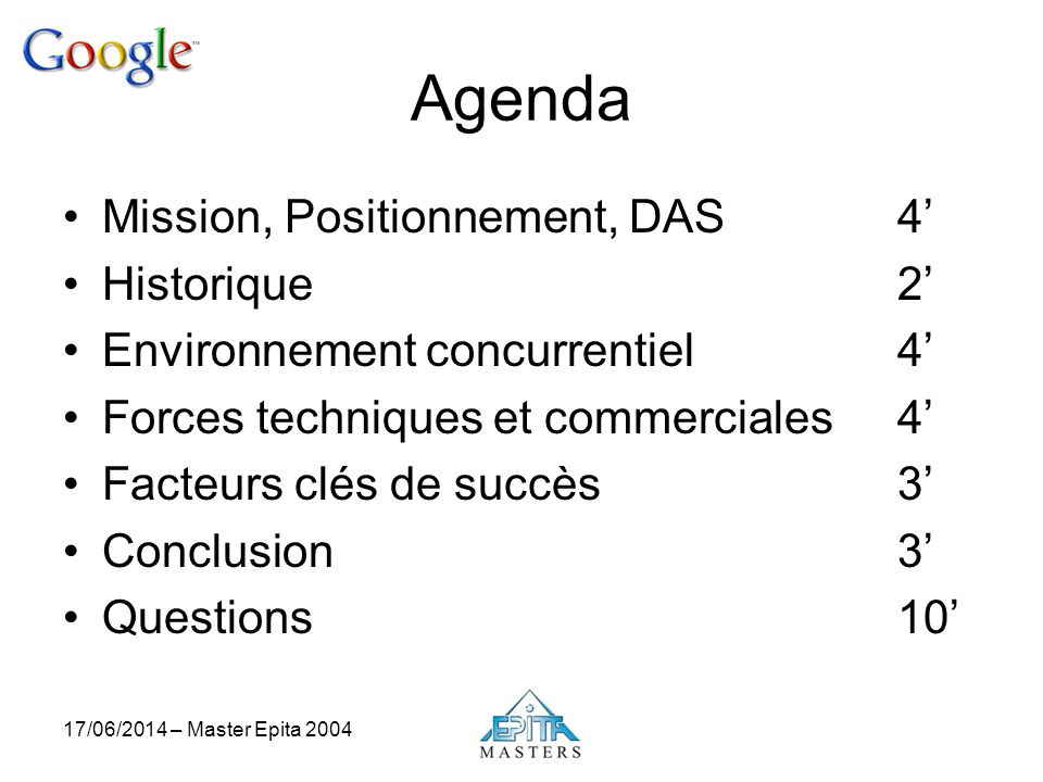 Agenda Mission, Positionnement, DAS 4' Historique 2'