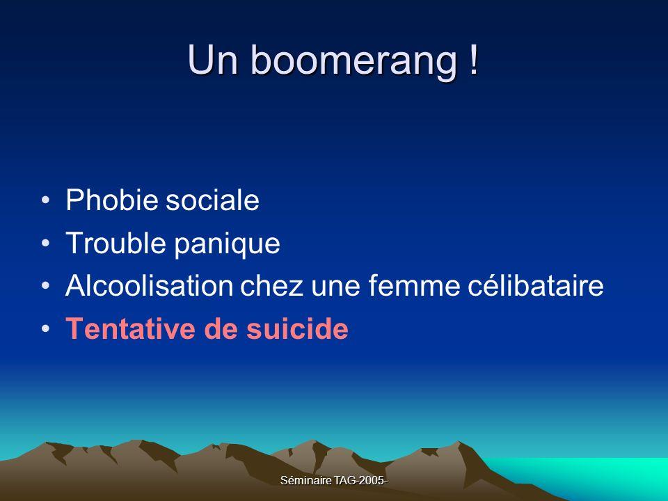 Un boomerang ! Phobie sociale Trouble panique
