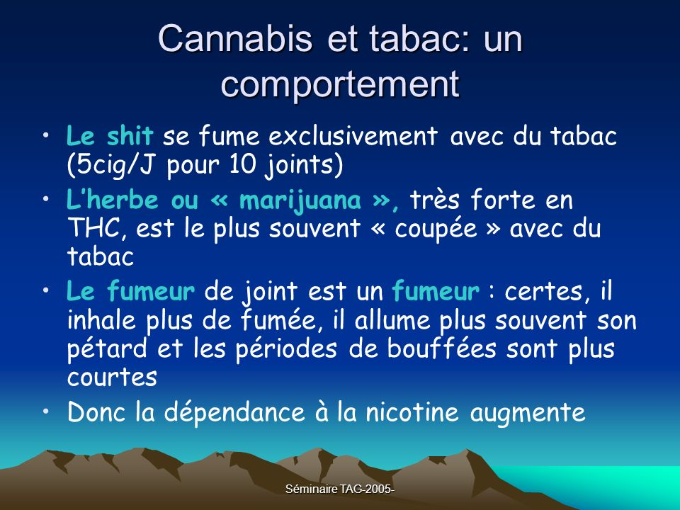 Cannabis et tabac: un comportement