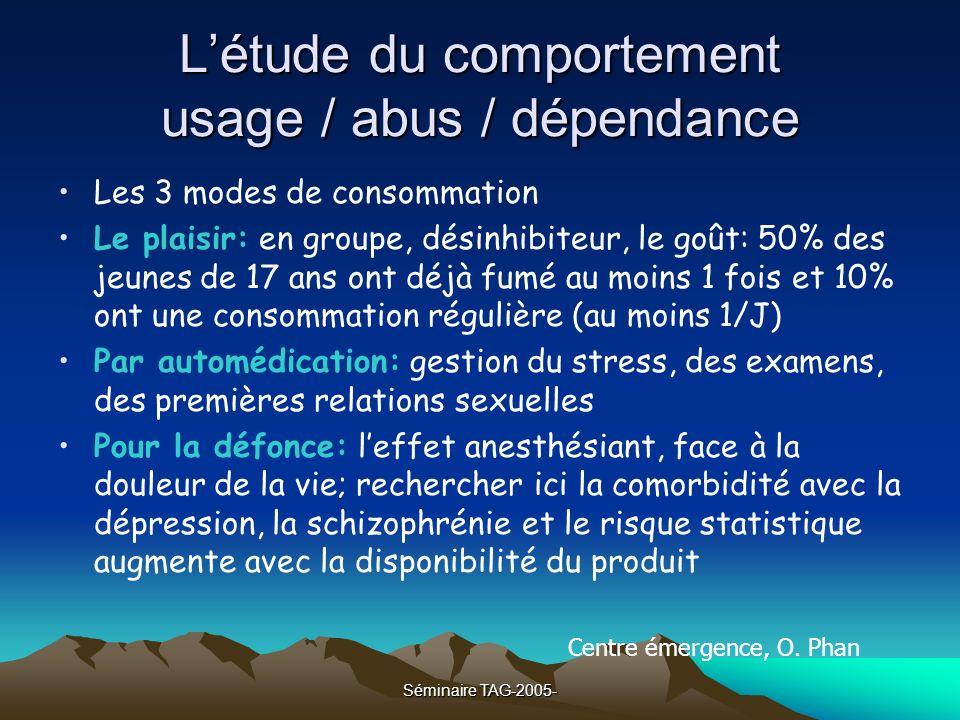 L'étude du comportement usage / abus / dépendance