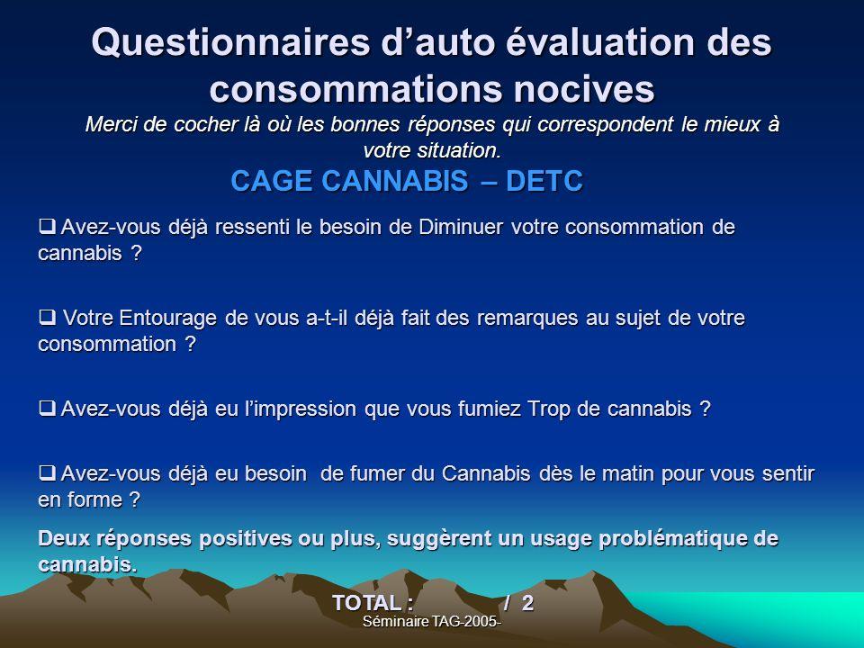 Questionnaires d'auto évaluation des consommations nocives Merci de cocher là où les bonnes réponses qui correspondent le mieux à votre situation.
