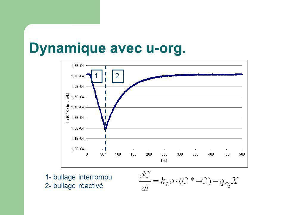 Dynamique avec u-org. 1 2 1- bullage interrompu 2- bullage réactivé