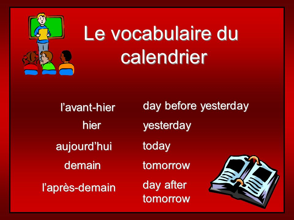 Le vocabulaire du calendrier l'avant-hier day before yesterday hier