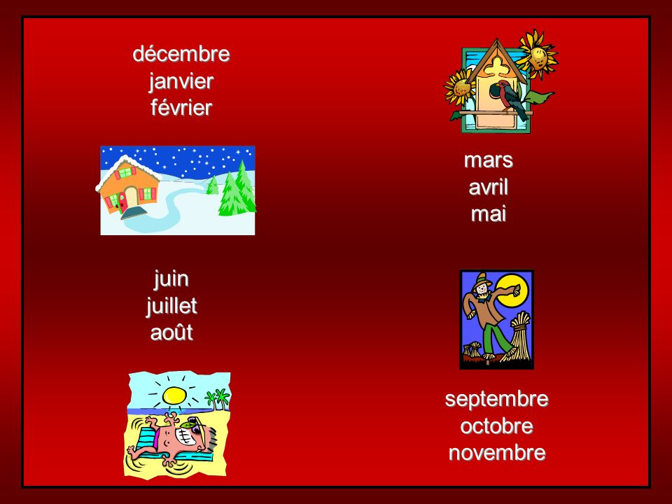 mars avril mai décembre janvier février juin juillet août septembre octobre novembre