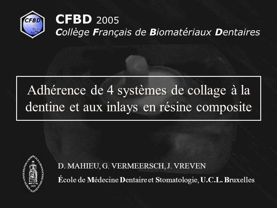 CFBD 2005 Collège Français de Biomatériaux Dentaires. Adhérence de 4 systèmes de collage à la dentine et aux inlays en résine composite.