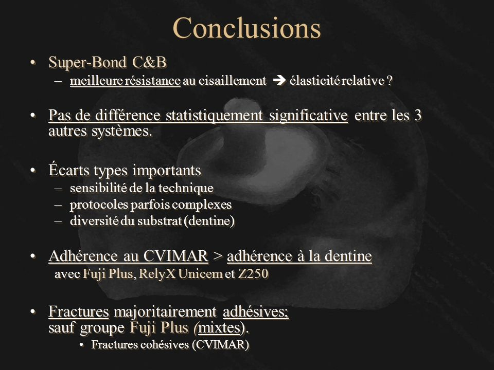 Conclusions Super-Bond C&B