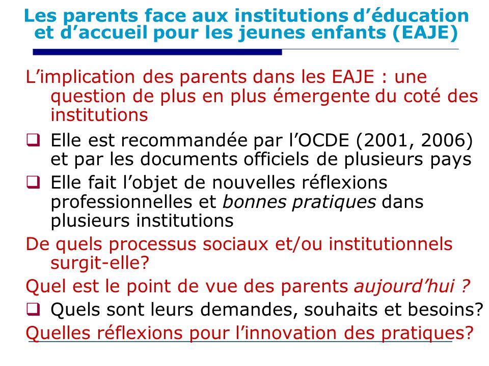Les parents face aux institutions d'éducation et d'accueil pour les jeunes enfants (EAJE)